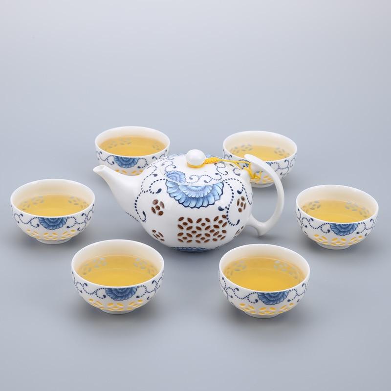 7PCS/set Chinese Kung Fu Tea Set Teacup cups  Drinkware  Ceramic Porcelain for puer Oolong Tea
