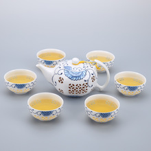 7PCS/set Chinese Kung Fu Tea Set Teacup cups  Drinkware  Ceramic Porcelain for puer Oolong Tea appreciating chinese oolong tea adult