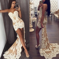 Chic Sweetheart Sheath Prom Gowns Lace Appliques High Low Evening Gown Floor Length Party Women Dresses Custom Made Plus Size