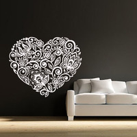Creative Flower Pattern Heart Wall Sticker White Removable DIY Home Decor Living Room Wall Murals