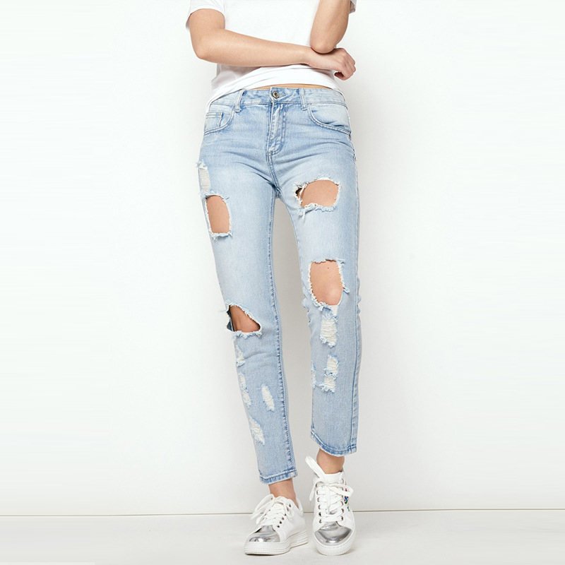 Boyfriend hole ripped loose jeans women pants Cool denim vintage straight jeans for girl Mid waist casual fashion pants female 2017 ripped boyfriend high waist jeans for women torn cool denim vintage straight pockets hole bleached washed jeans femme