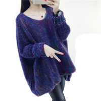 Winter mohair sweater Rainbow color Pullover Women hedging Long Korean Knitted coat thick loose clothes College wind 2 colors