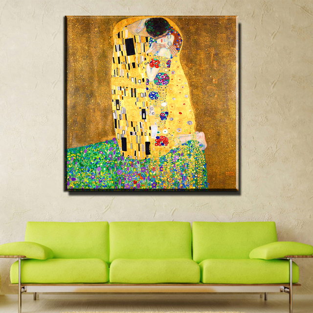 ZZ756 amous Paint The Kiss by Gustav Klimt wall painting for home ...