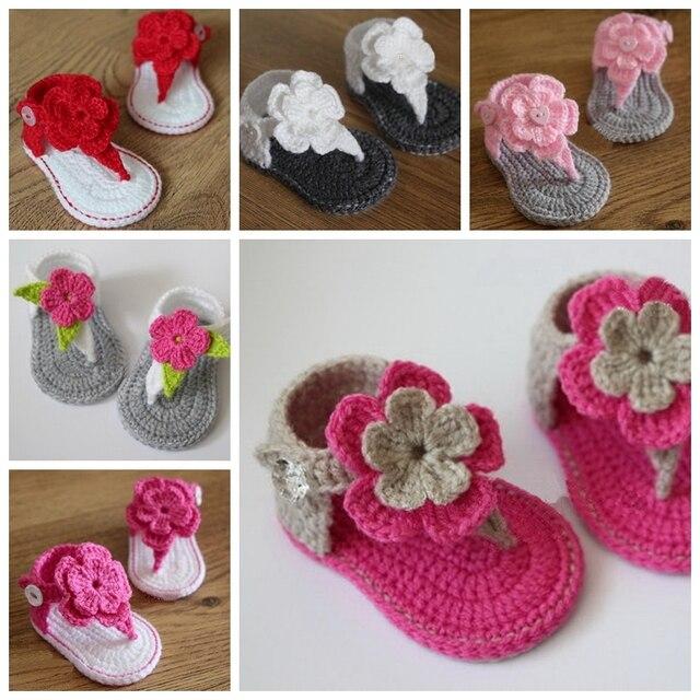 крючком сандалии для девочек детские белый розовый красный цветок