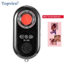 Topvico Câmera Localizador Vibração Sensor de Choque Anti Spy Detector de Alarme Mini Viagem Lente Da Câmera Escondida Sem Fio Dispositivos K98