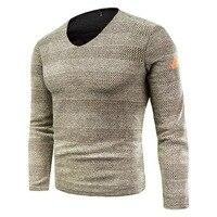 Новый мужской модный вязаный свитер с v-образным вырезом Мужской пуловер с длинными рукавами Топы Тонкий джемпер трикотаж осень зима в поло...