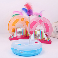 Pet Kettle Cat Toy Spring Feather Crazy Disk Play Activity Product Kitten Moving Sound Ball Inside