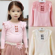 New Kids Girls Lace Bowknot Ruffled Cotton Bottoming Shirts Blouse Baby Long Sleeve Tops Clothing YO9