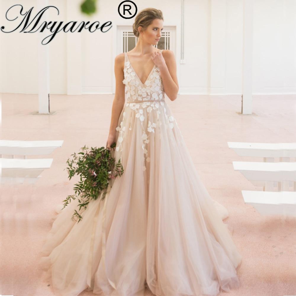 Mryarce V Neck Sleeveless Blush Wedding Dress 2019 3D Lace