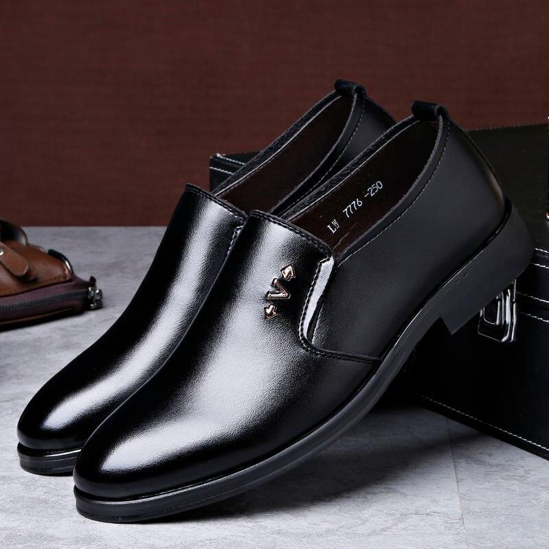 Solide Cuir En Chaussures Printemps Mâle Travaillent on D'affaires Robe Ronde Automne Slip 2018 Couleur Nouvelle Bout Hommes Mode Laisumk Hqv7wP0