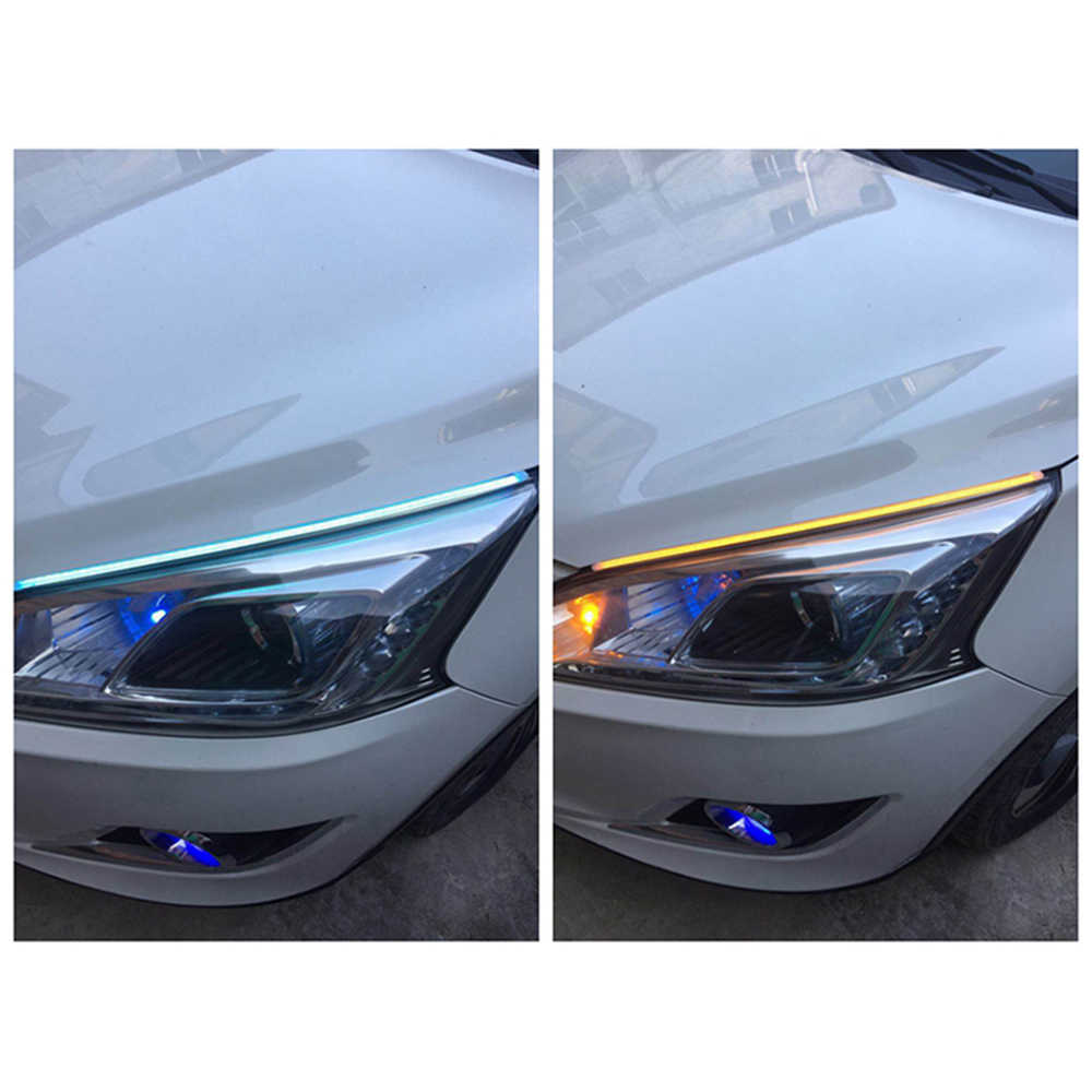 YSY 1 zestaw nowy 45/60/30 cm samochód elastyczny DRL do biegania sygnału biały żółty/jasnoniebieska dioda LED płynącej sygnał światła do jazdy dziennej światła 12 V