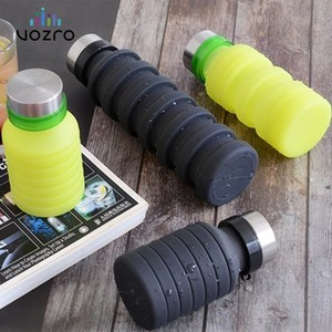VOZRO 550ml Fold Run Bodybuilding Camping Portable Gel Cup Outdoor Sport Water Bottle My Drink . Botellas Stainless Steel Cover(China)