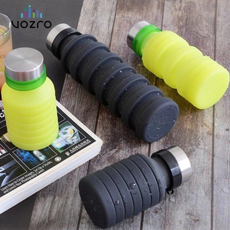 Vozro 550ml fold run 보디 빌딩 캠핑 휴대용 젤 컵 야외 스포츠 물병 my drink. Botellas 스테인레스 스틸 커버
