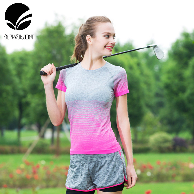 New Style Yoga Gym Tights Womens Sport T-shirts Dry Quick Running Short Sleeve T-shirts Fitness Women Clothes Tees tops