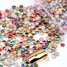 100 шт, 4 мм, 5 мм, 6 мм, много цветов, полукруглые жемчужины, металлические стразы, сделай сам, для дизайна ногтей, бусины, красивые блестящие украшения