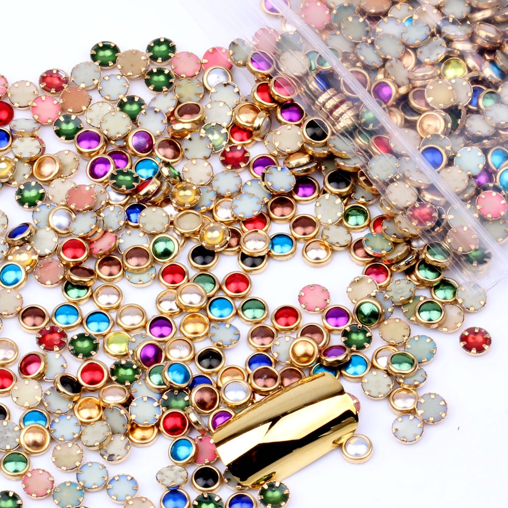 100pcs 4mm 5mm 6mm Many Colors Half Round Pearls Metal Rhinestone DIY Nail Art Nail Beads Beauty Glitter Decoration(Hong Kong,China)