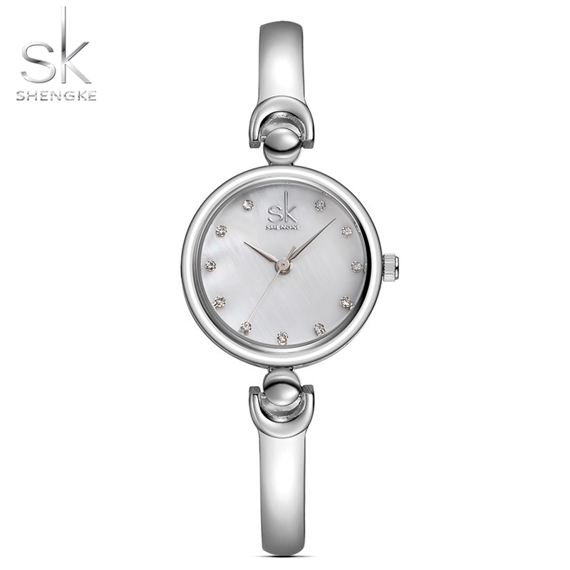 Shengke Reloj Mujer Fashion Armband Armbandsur Märke Kvinnlig Geneva Quartz Watch Klocka Vattentät Girls Gift Armbandsur 2017