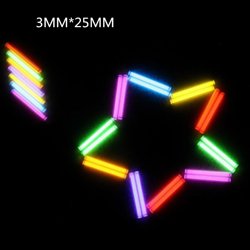 6 warna EDC Tritium Gas Tube 3 * 25MM 1 PCS Self Luminous 25 Tahun Produk berteknologi tinggi EDC Multi-color Selection Glass Tube