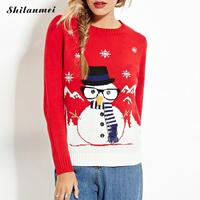 2016 New Fashion Autumn Women Snowman Print Preppy Style Full Sleeve Tops Knitted Ugly Christmas Sweater
