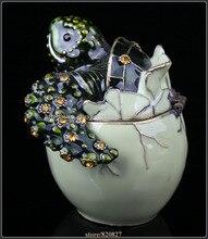 Turtle Trinket Box Handmade Decorated with Crystals Decorative Turtle Figurine Statue Hatching Egg Turtle Keepsake Box