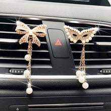 Diamond Butterfly Tassel Pendant Car Perfume Air Conditioner outlet Fragrance Clip Balm Interior Acce