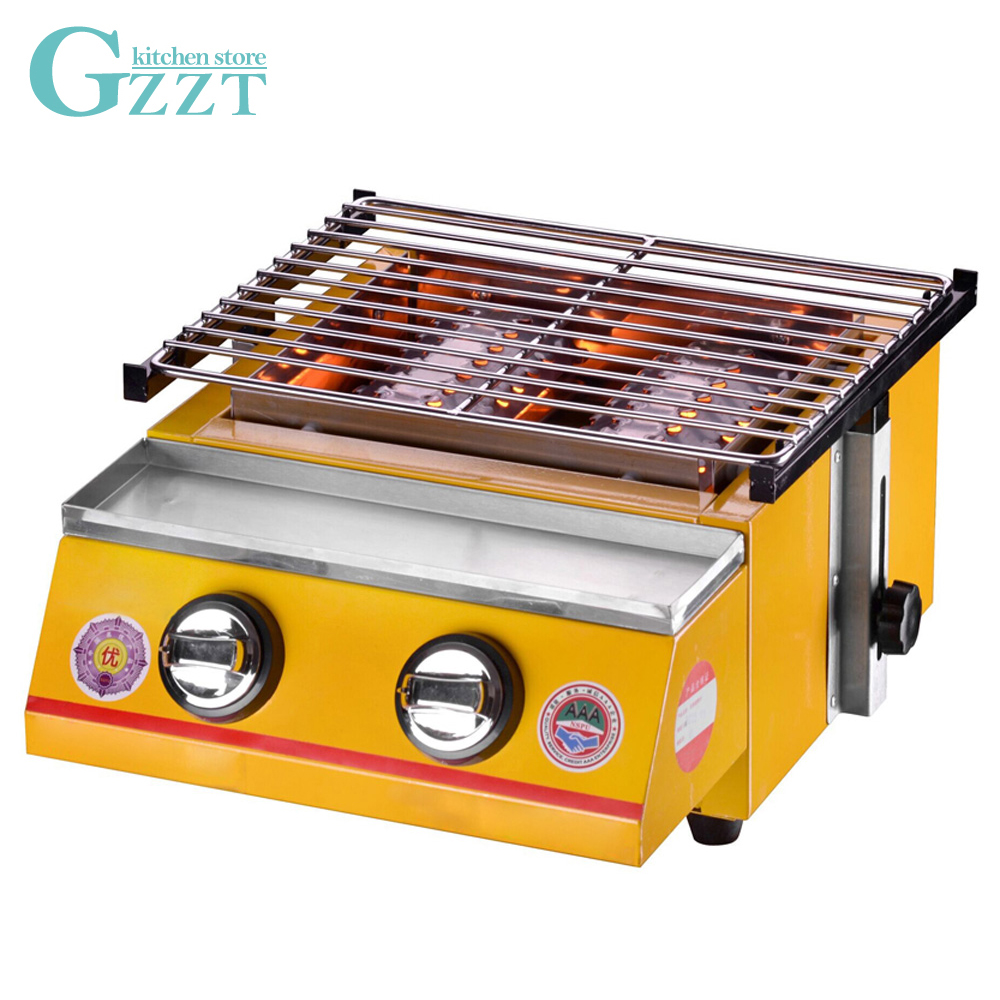 Environmental Barbecue BBQ Gas Grill 2 Burners Adjustable Height Grill Size 320*250mm