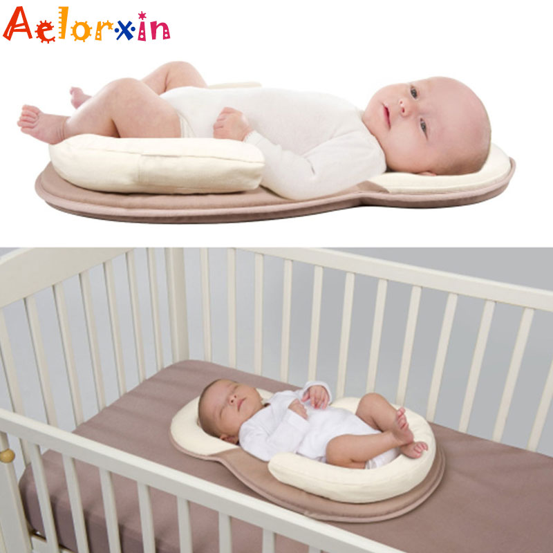 0-12 Months Baby Sleeping Positioning Pad Anti-rollover Safety Cotton Baby Pillow Infant Newborn Portable Folding Bed Travel