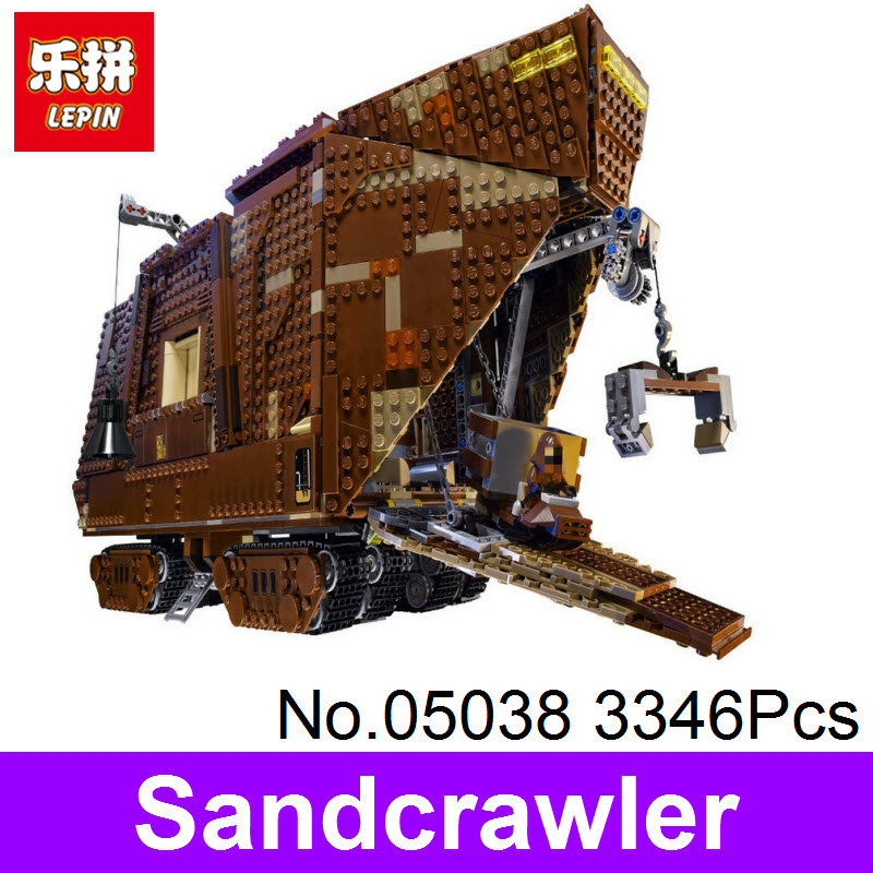 LEPIN 05038 3346Pcs Star Force Awakens Sandcrawler Wars Model Building Kit Blocks Bricks DIY Toy For Kids Gift Compatible 75059 lepin 05035 star wars death star limited edition model building kit millenniums blocks puzzle compatible legoed 75159