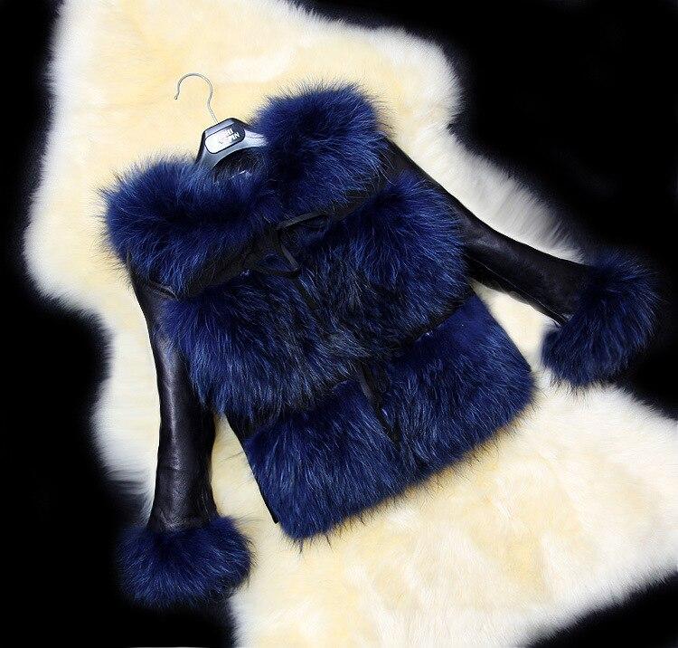 Pardessus En 2018 Manteau Dames Cuir Courte gris Automne Fourrure Tempérament Loisirs Veste Imitation noir Renard Femme Pu Hiver Rouge De Piqué bleu TrSA4T