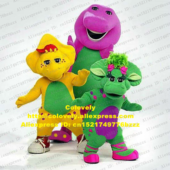 US $179 55 5% OFF Wise Green Yellow Purple Barney Baby Bop Bob And BJ  Dinosaur Dino Mascot Costume Cylinder Nose Water Drop Shaped Belly  No 6538-in