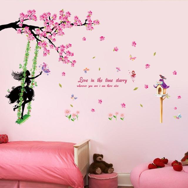 Rosa wand aufkleber kinder schlafzimmer romantische Neue ...