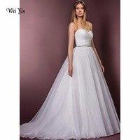 weiyin Sweetheart A line Long Wedding Dress Sleeveless Crystal Bow Elegant Dream Church Princess Wedding Dresses