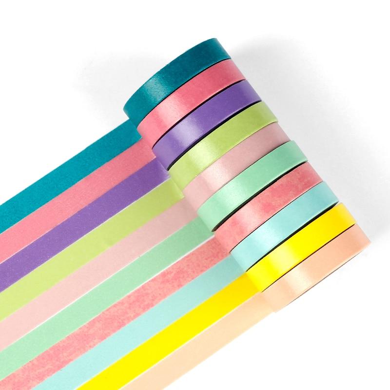 10 PCS Washi Tape Multicolour Solid Color Paper DIY Decorative Scrapbooking Masking Adhesive Label Sticker Mini Tape Stationery 1pcs 15mm 10m kawaii scrapbooking tools diy solid color white black paper washi tapes masking tape photographic tape 02492