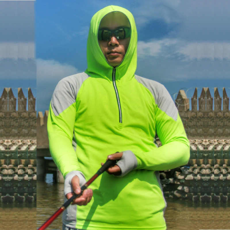 ARCTIC LIGHT เสื้อตกปลาเสื้อผ้า Breathable เสื้อเดินป่าชาย UV แห้งเร็วแขนยาว Hooded