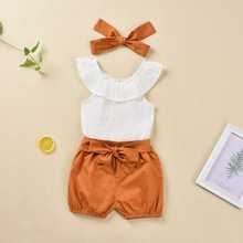 New Arrival Baby Clothes For Newborns Crew Neck Girl Summer Set 2019 Infant Clothing Casual D30