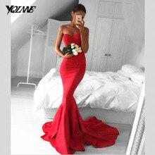 Klassische Red Mermaid Prom Kleider Lange Abendkleider Kleid Schatz Fleck Reißverschluss Zurück Sweep Zug Vestidos