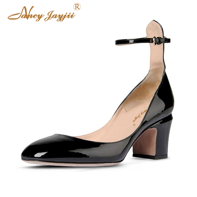 a8730a6056185 US $42.48 28% OFF|Cork High Chunky Heels Pumps Women Black Nude Red Ladies  Casual Shoes Spring 2019 Ankle Strappy Party Office Round Toe Size 15-in ...
