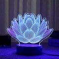 Lírios de água LED Luminaria Lâmpada USB lâmpada de Mesa Luz Da Noite 3D 3D floral Luz luzes LED luminarias Decoração interior Dom