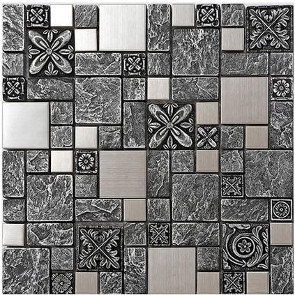 Black Grey Rustic Emboss Resin 3Dart Backsplash Wall StickerHome Kitchen Bathroom Tiles Silver Drawbench Metal WallpaperLSRN07 In Wallpapers From Home