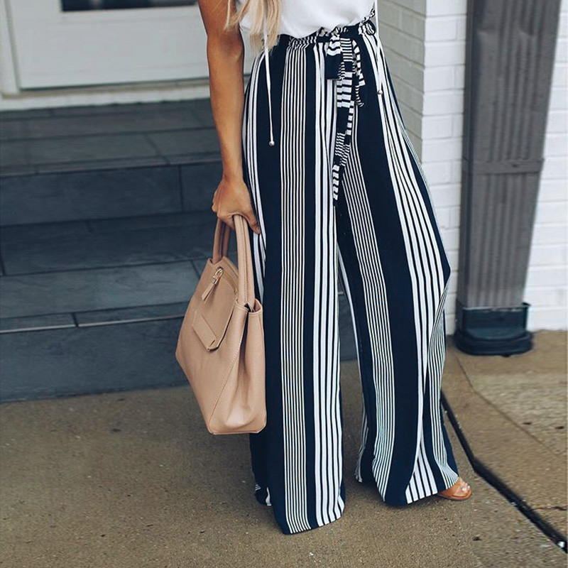 Stripe split   wide     leg     pants   women bottom Sash ruffle high waist trousers Summer beach casual   pants   female 2018 Autumn Plus Size