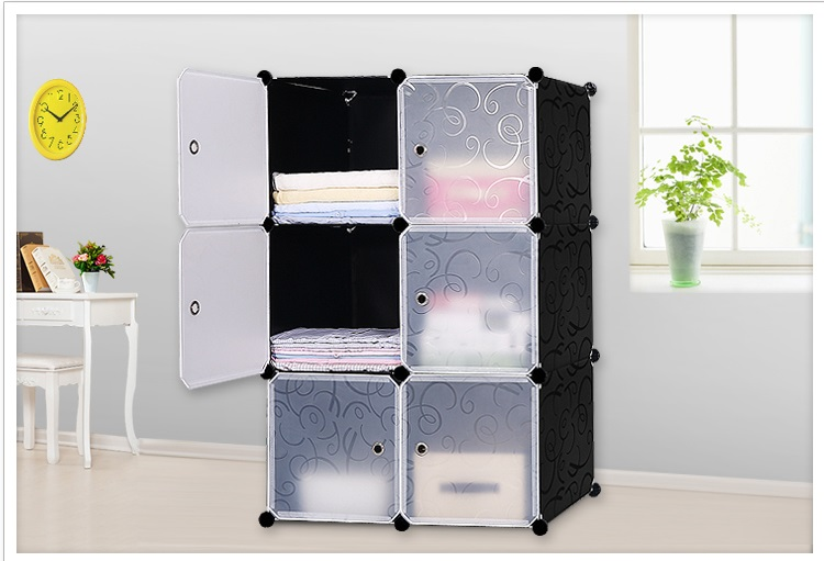 Simple wardrobes 6 DIY PVC fold Portable Storage Cabinet Dormitory Steel frame assembly lockers Student wardrobe free shipping(China)