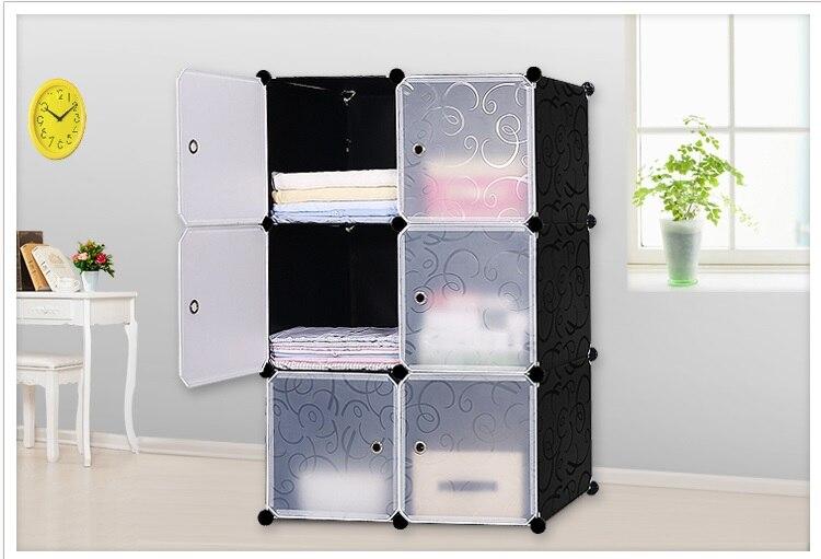 Simples roupeiros 6 diy pvc fold armário de armazenamento portátil dormitório estrutura de aço montagem armários guarda-roupa estudante frete grátis