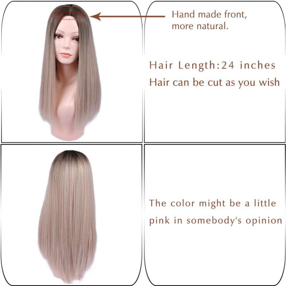 Wignee uzun düz saç orta kısmı sentetik peruk kadınlar için Ombre bebek kül sarışın/pembe/kırmızı/kahverengi /mavi doğal saç kadın peruk