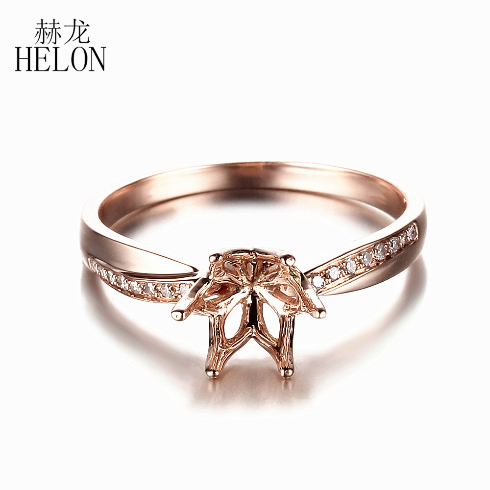 HELON 6.5mm Round Cut Solid 10K Rose Gold Natural Diamonds Semi Mount Engagement Wedding Fine Ring Setting ,WholesaleHELON 6.5mm Round Cut Solid 10K Rose Gold Natural Diamonds Semi Mount Engagement Wedding Fine Ring Setting ,Wholesale