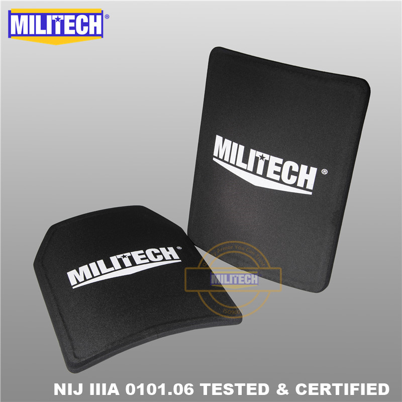 MILITECH Two Pcs Pair Set 11'' X 14'' 280 * 350mm NIJ IIIA 3A Ultra Light Weight Ballistic Panel Bulletproof Backpack Plate