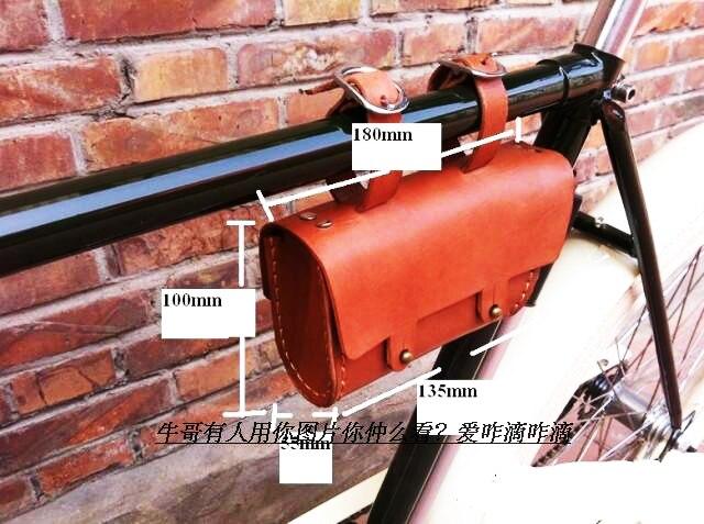 Урожай классический дизайн кожа коровы сотовый телефон инструмент висел мешок для велосипеда 100% руководство шить мешок