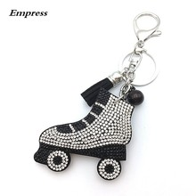 2019 New Skateboard Shoes Key Chains Fashion Rhinestone Dangle Keychain Silver Key Ring Car Accessory Match Bag Jewelry Keychian(China)