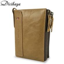 ФОТО dicihaya hot genuine cowhide leather men wallet short coin purse small fashion wallets brand high quality designer zipper wallet