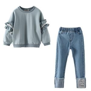 Image 5 - Ragazza Set di Autunno della Molla di Abbigliamento Per Bambini Set 2019 Solido Felpa + Jeans Pantaloni 2 Pcs sacchetto di Scuola Adolescente Ragazze Maniche Lunghe di Pizzo tuta