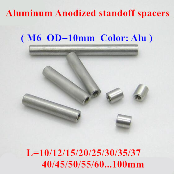10pcs M6 aluminum rods M6 10 12 15 20 25 30 35 40 80mm Aluminum Alloy round standoff spacer Spacing screws for RC Parts D 10mm in Screws from Home Improvement